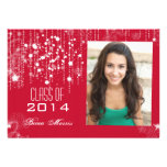 Stylish Strings of Light Red Photo Graduation 2014 Personalized Announcements