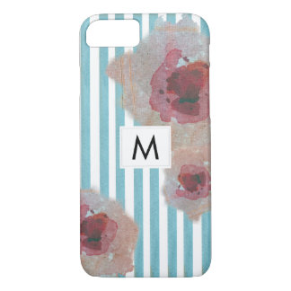 Stylish  Striped Boho Chic Monogramed Floral iPhone 8/7 Case