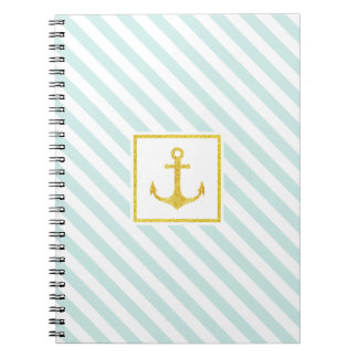 Stylish Striped Design Golden Anchor Spiral Notebook