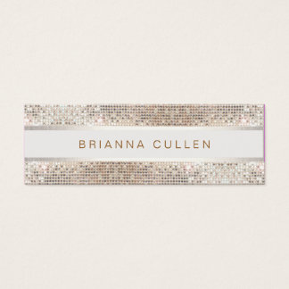 Stylish Striped FAUX Silver Sequin Elegant Modern Mini Business Card