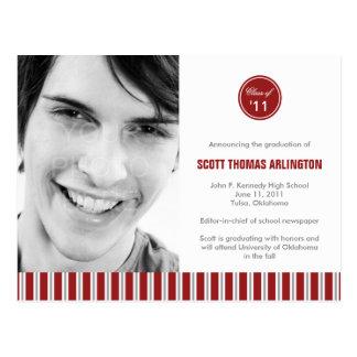 Stylish Stripes Graduation Announcement/Invitation Postcard