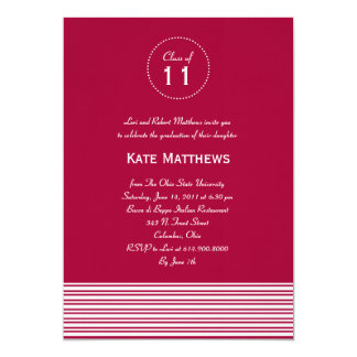 "Stylish Stripes Graduation Party Invitation 5"" X 7"" Invitation Card"