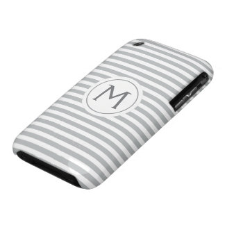 Stylish stripes gray modern monogrammed iPhone 3 Case-Mate cases