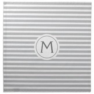 Stylish stripes gray modern monogrammed napkin
