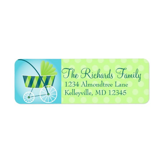 Stylish Stroller Blue & Green Return Address Label