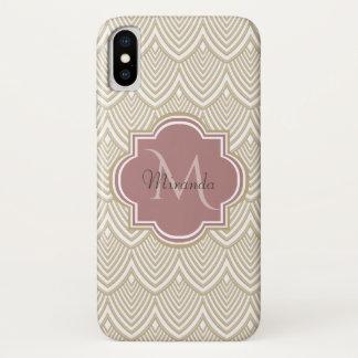 Stylish Tan Arched Scallops Mauve Monogram Name iPhone X Case