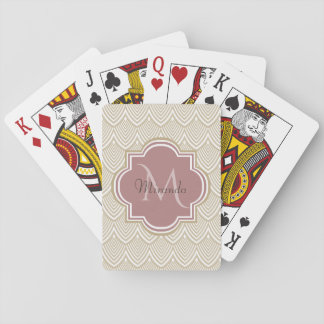 Stylish Tan Arched Scallops Mauve Monogram Name Playing Cards