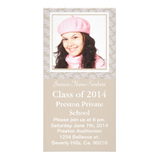 Stylish Tan & White Lacy Graduate Photo Personalised Photo Card