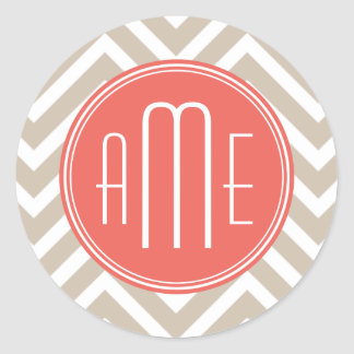 Stylish Taupe and Coral Custom Monogram Classic Round Sticker
