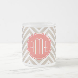 Stylish Taupe and Coral Custom Monogram Frosted Glass Coffee Mug