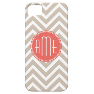 Stylish Taupe and Coral Custom Monogram iPhone 5 Case