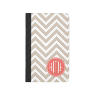 Stylish Taupe and Coral Custom Monogram Journal
