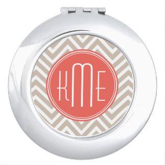 Stylish Taupe and Coral Custom Monogram Makeup Mirrors