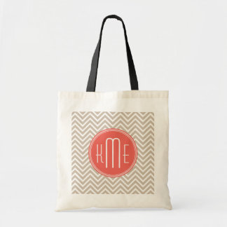 Stylish Taupe and Coral Custom Monogram Tote Bag