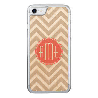 Stylish Taupe and Coral Monogram Carved iPhone 8/7 Case