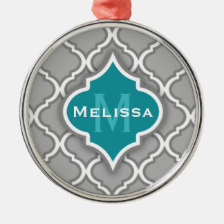 Stylish Teal and Gray Moroccan Tile Pattern Christmas Ornament