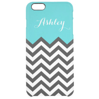 Stylish Teal Blue Chevron Zigzag Pattern Monogram Clear iPhone 6 Plus Case