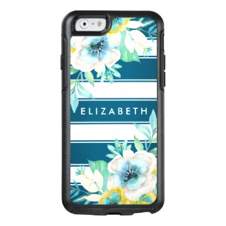 Stylish Teal Floral OtterBox iPhone 6/6s Case