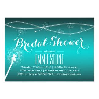 Stylish Teal Green Dandelion Blowing Bridal Shower 13 Cm X 18 Cm Invitation Card