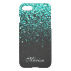 Stylish Teal Green Glitter Cool Black iPhone 8/7 Case