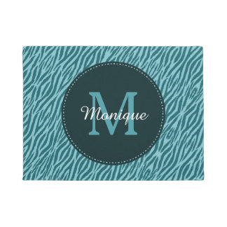 Stylish Teal Zebra Print With Monogram and Name Doormat