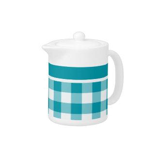 Stylish Teapot, Teal Check Gingham Pattern