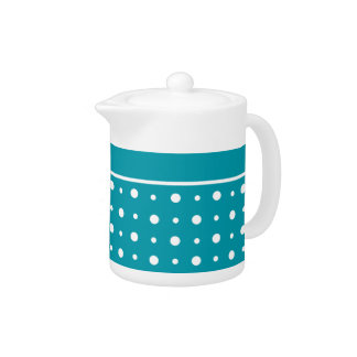 Stylish Teapot, White Polka Dots on Teal