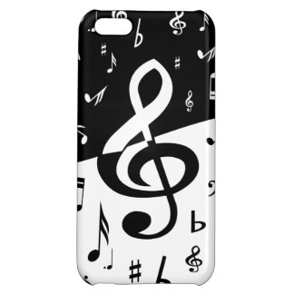 Stylish Treble Clef Wave Black and White iPhone 5C Cases