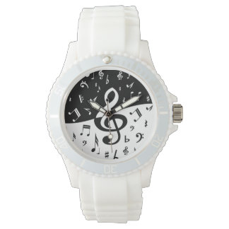Stylish Treble Clef Wave Black and White Watch