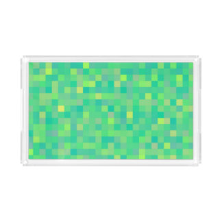 Stylish Trendy Green/Yellow Pixel Mosaic Pattern Acrylic Tray