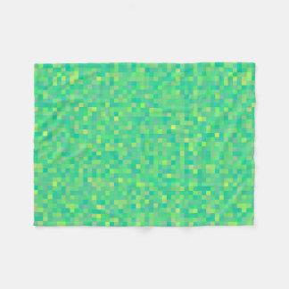 Stylish Trendy Green/Yellow Pixel Mosaic Pattern Fleece Blanket