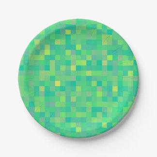 Stylish Trendy Green/Yellow Pixel Mosaic Pattern Paper Plate
