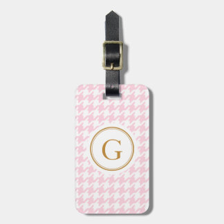 Stylish trendy pink houndstooth with monogram luggage tag
