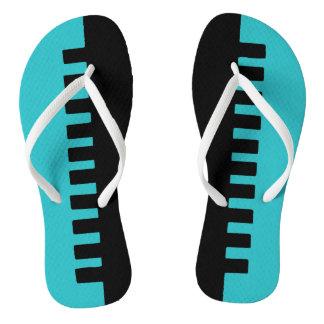 Stylish Turquoise and Black Pattern Flip Flops