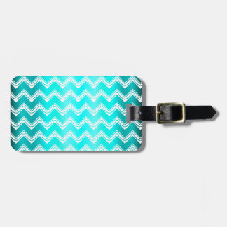 Stylish Turquoise and White Chevron pattern Luggage Tag