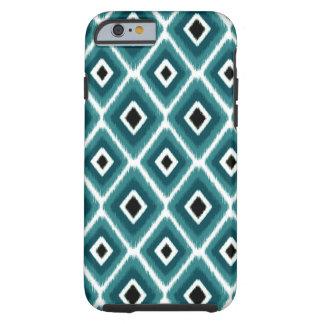 Stylish Turquoise Black Ikat Pattern Tough iPhone 6 Case