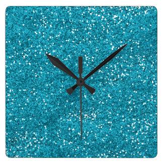 Stylish Turquoise Blue Glitter Clock