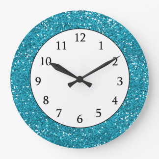 Stylish Turquoise Blue Glitter Large Clock