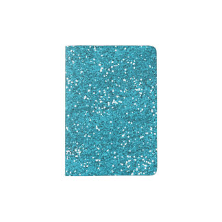 Stylish Turquoise Blue Glitter Passport Holder