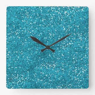 Stylish Turquoise Blue Glitter Square Wall Clock