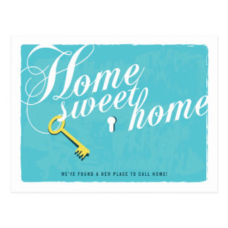 Stylish Turquoise Blue New Address Postcard