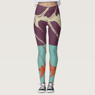 Stylish Turquoise Purple Orange Leaf Leggings