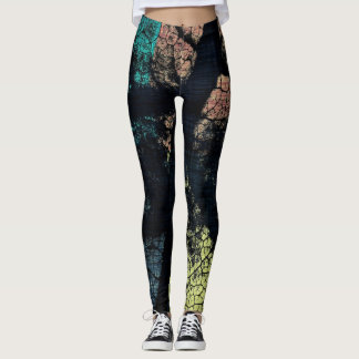 Stylish Turquoise Yellow Orange Leaf Leggings