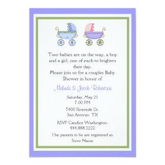 Stylish Twins Couples Baby Shower Invitation