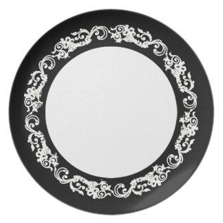 Stylish-Vintage(c) Blk-White-Everyday_Plates Dinner Plate