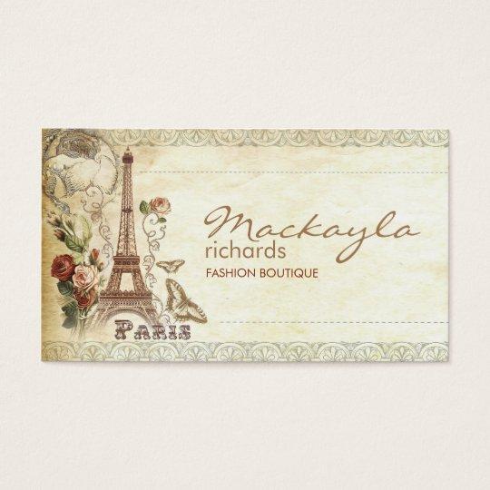 stylish vintage floral paris business card