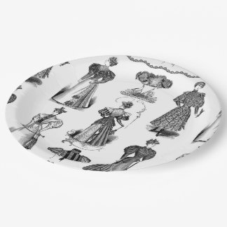 Stylish Vintage Ladies Black and White Party Plate 9 Inch Paper Plate