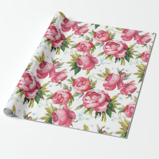 Stylish Vintage Pink Floral Pattern Wrapping Paper