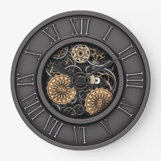 Stylish Vintage Steampunk #5C Large Clock