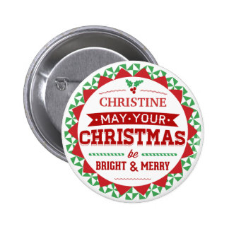 Stylish Vintage style Personalized Xmas typography Buttons